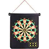 Roll-up Magnetic Dart Board Set, Rabosky Fabric Double Sided Hanging Rubber DartBoard with 6PCS Dart Flights and 10PCS Replacement Dart-Tip