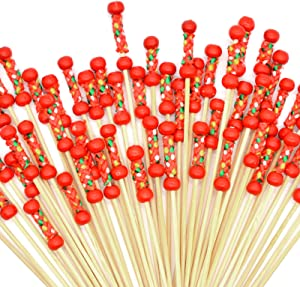 200pcs Cocktail Picks 4.7 inch for Appetizers Fruit Sticks Wooden Garnish Sticks with Red Beads and Rope Design Food Picks Cocktail Toothpicks Bar Party - Drinks Fruits Decoration, Red Beads