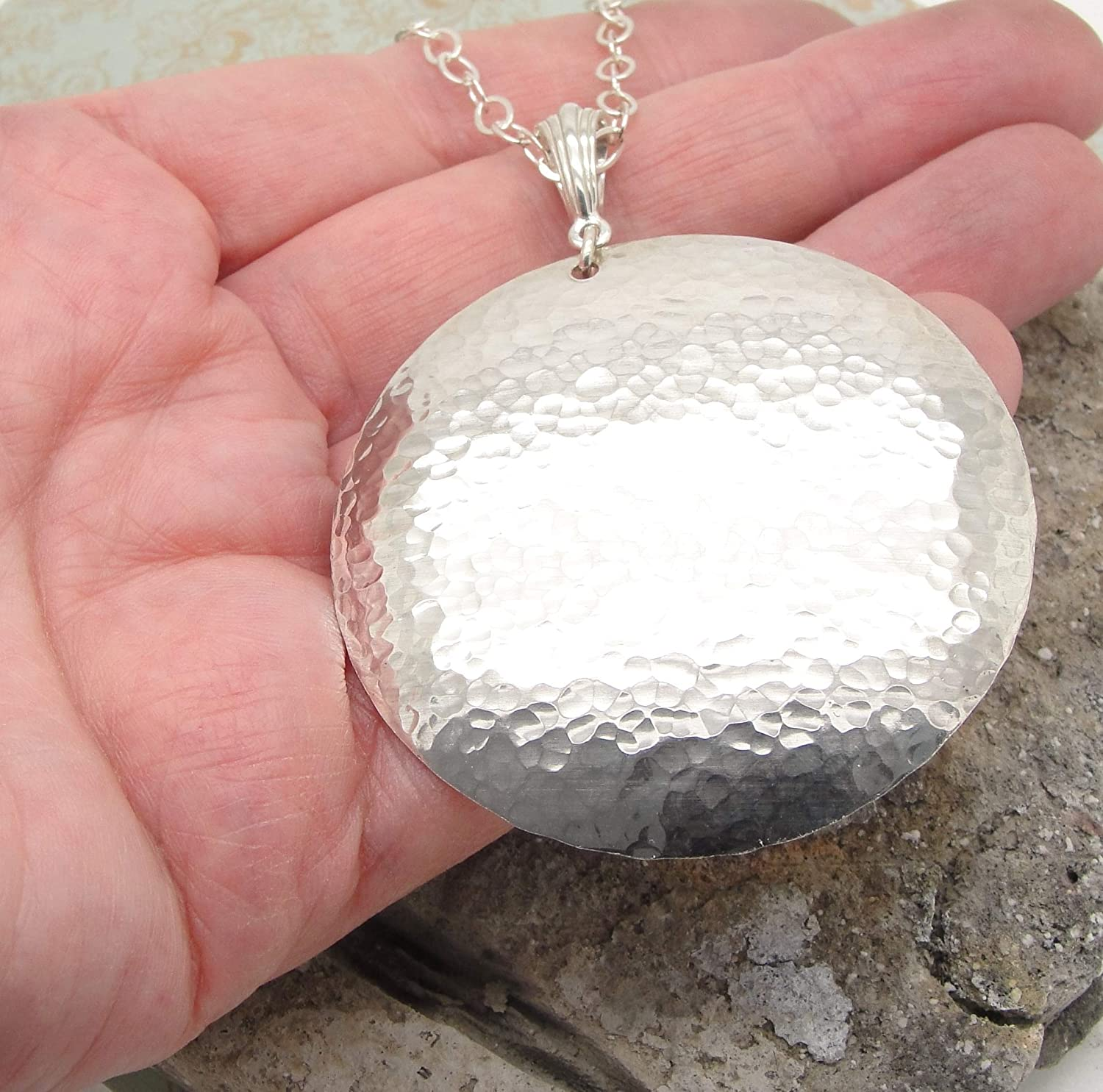 Large Disc Pendant in Hammered Sterling Silver in 1 1 2 Inch Diameter Size with No Chain