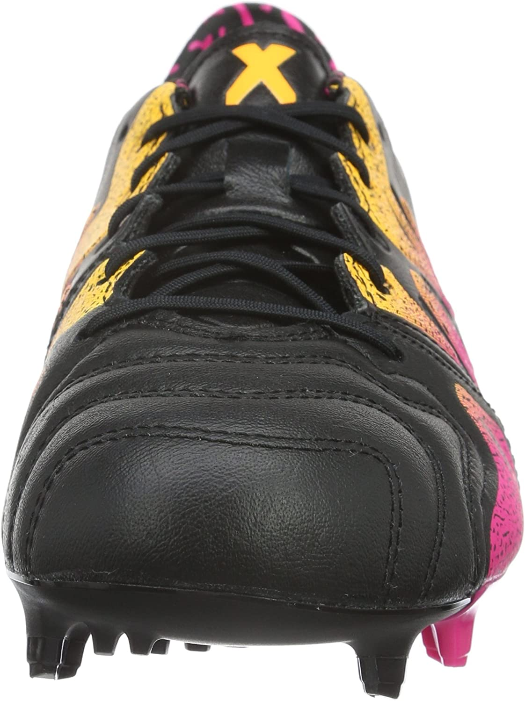 adidas Herren X 15.1 Fg/Ag Leather Fußballschuhe Schwarz (Core Black/Shock Pink/Solar Gold)