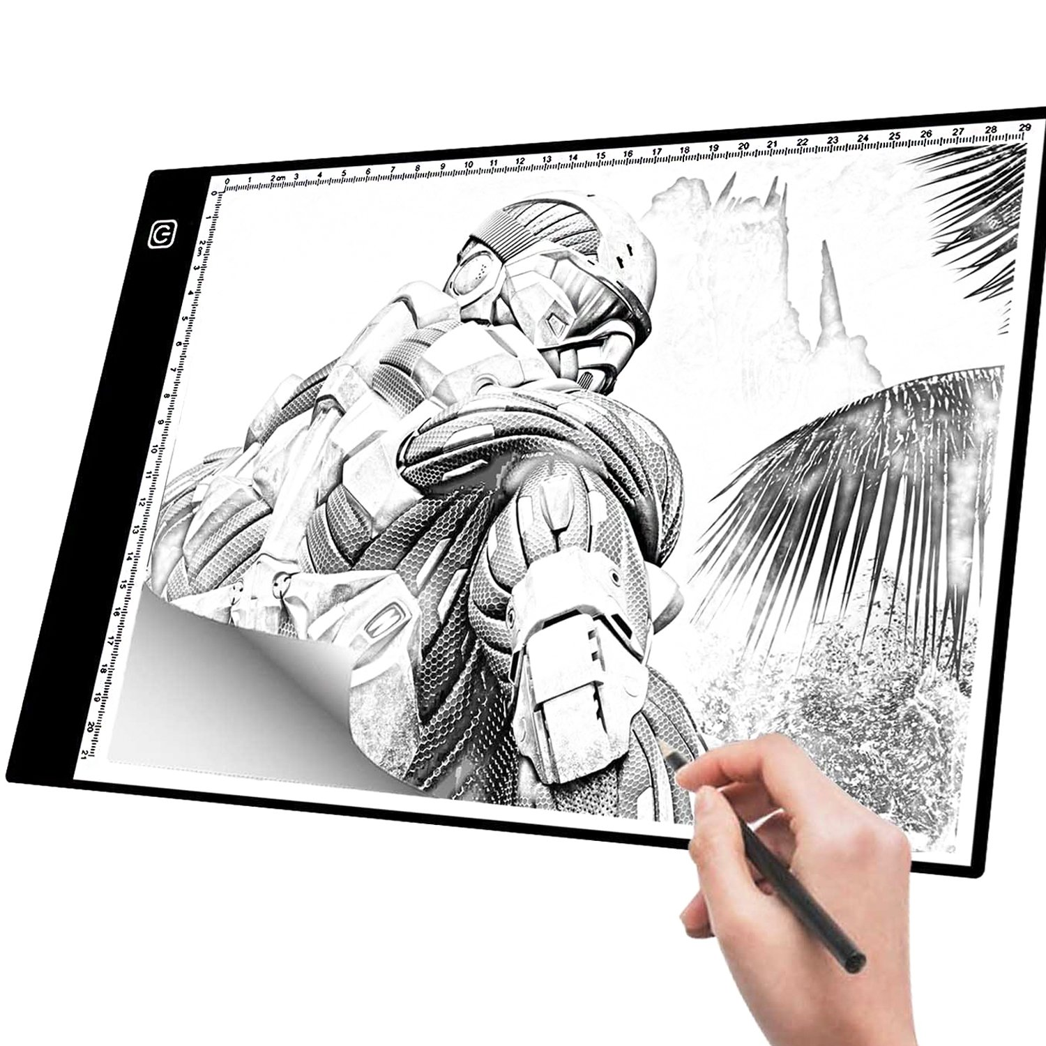 A4 Light Box Tracer with Scale | Ultra-Thin USB Powered Portable Dimmable Brightness LED Artcraft Tracing Light Pad | Light Box for Artists Drawing Sketching Animation 5D Diamond Painting