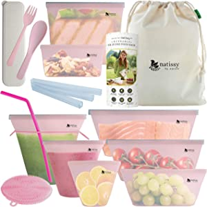 Reusable Silicone Bags, 8 Pack Leakproof Reusable Food Storage Bags, BPA free, Plastic Free Reusable Freezer Bags, Reusable Baggies for Sandwich, Silicon Pouch for Snack & Sous Vide Cooking