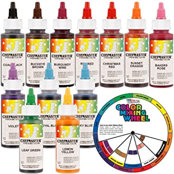 Amazon.com : 12 Food Color Chefmaster by US Cake Supply 2.3-Ounce ...