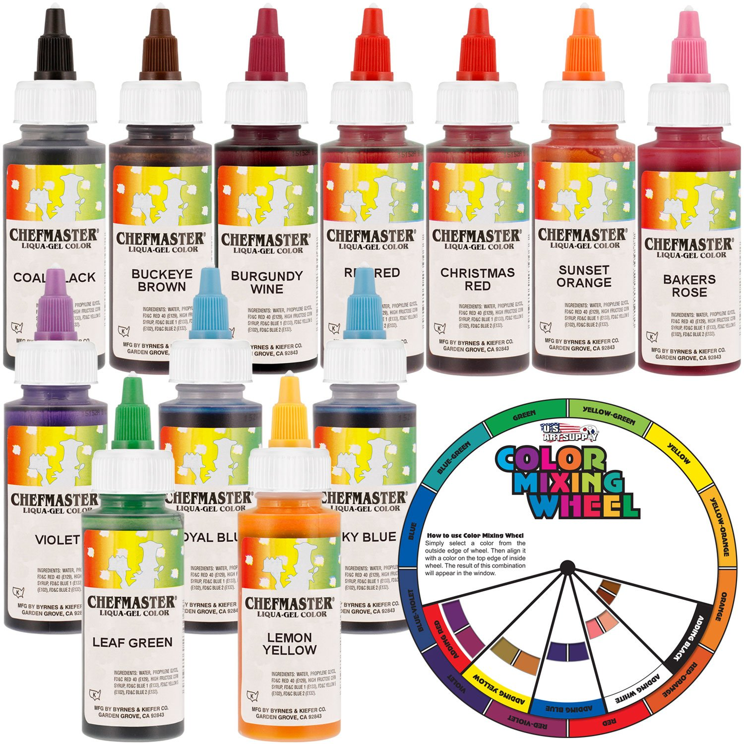12 Food Color Chefmaster by US Cake Supply 2.3-Ounce Liqua-Gel Cake Food Coloring Variety Pack with Color Mixing Wheel by U.S. Cake Supply
