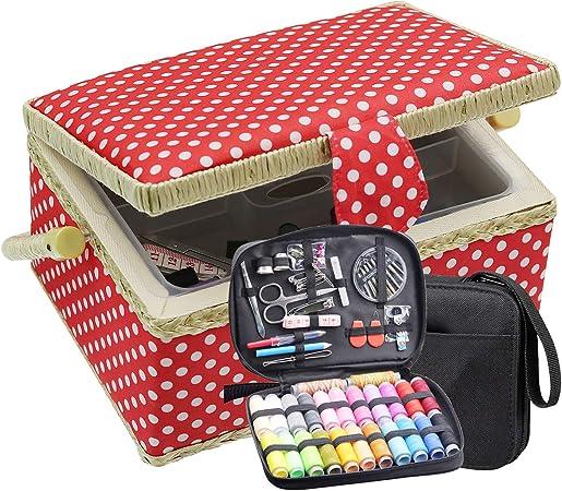 Caja De Costura Grande Con Kit De Viaje Organizador De Cesta De Costura Con Accesorios Diy Suministros De Costura Kits De Costura Para Adultos Rojo Arte Manualidades Y Costura