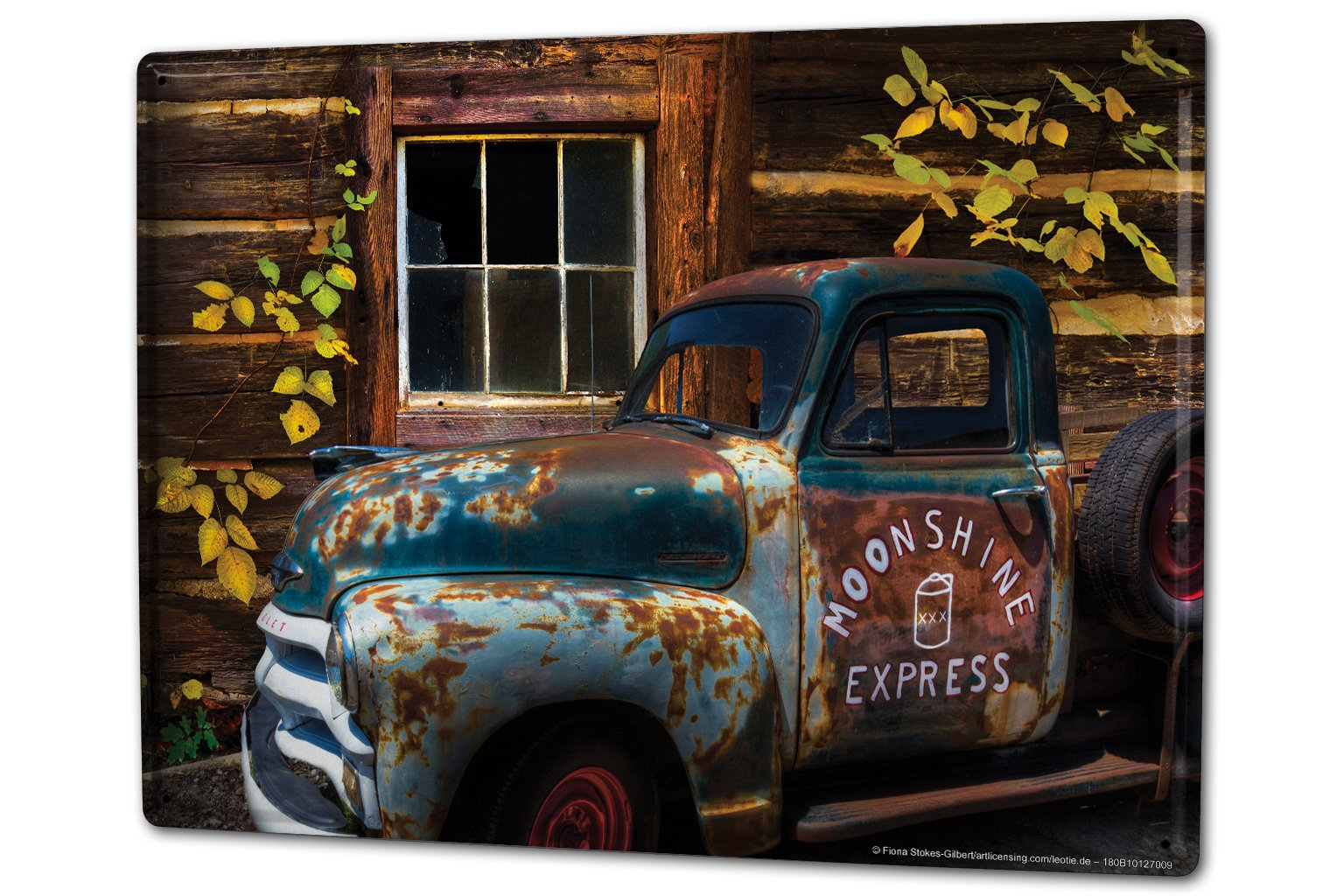 Tin Sign XXL Garage rusted car with truck bed broken window