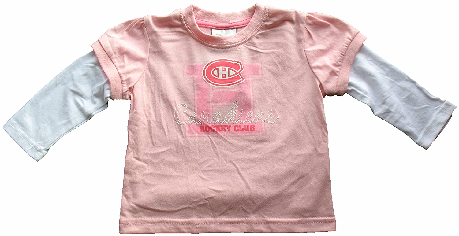 Montreal Canadiens Toddler Girls Pink Faux Layer Long Sleeve T-Shirt (2) Mighty Mac