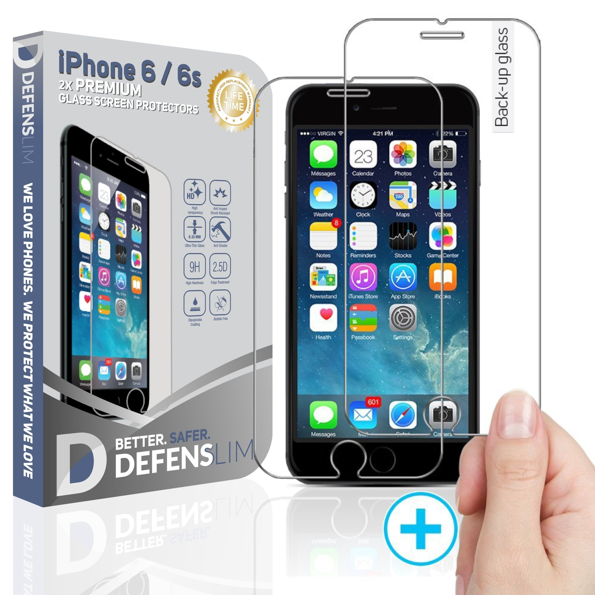 Witkeen Tempered Glass Screen Protector with Premium Anti-Shatter and Oleophobic Treatment for iPhone 6/6s - Crystal Clear (2 Pack)