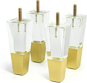 Acrylic Furniture Legs Replacement Sofa Feet Cabinet Modern Clear Decor DIY Legs Square Style Set of 4 (4.7inch)
