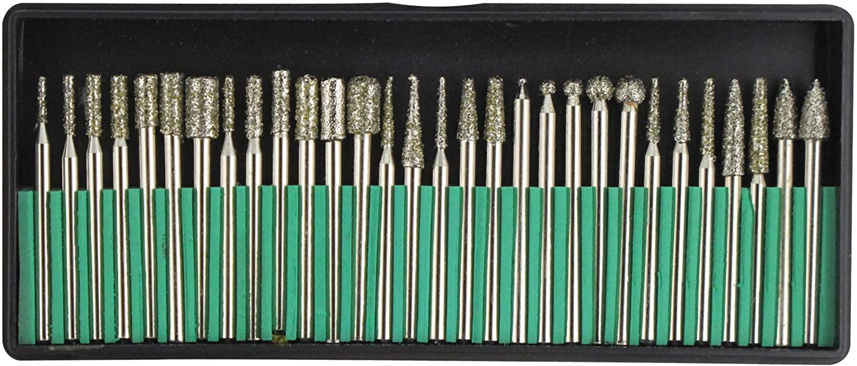 1//8-Inch 60Pcs Assorted Diamond Burr Set Shank 3mm