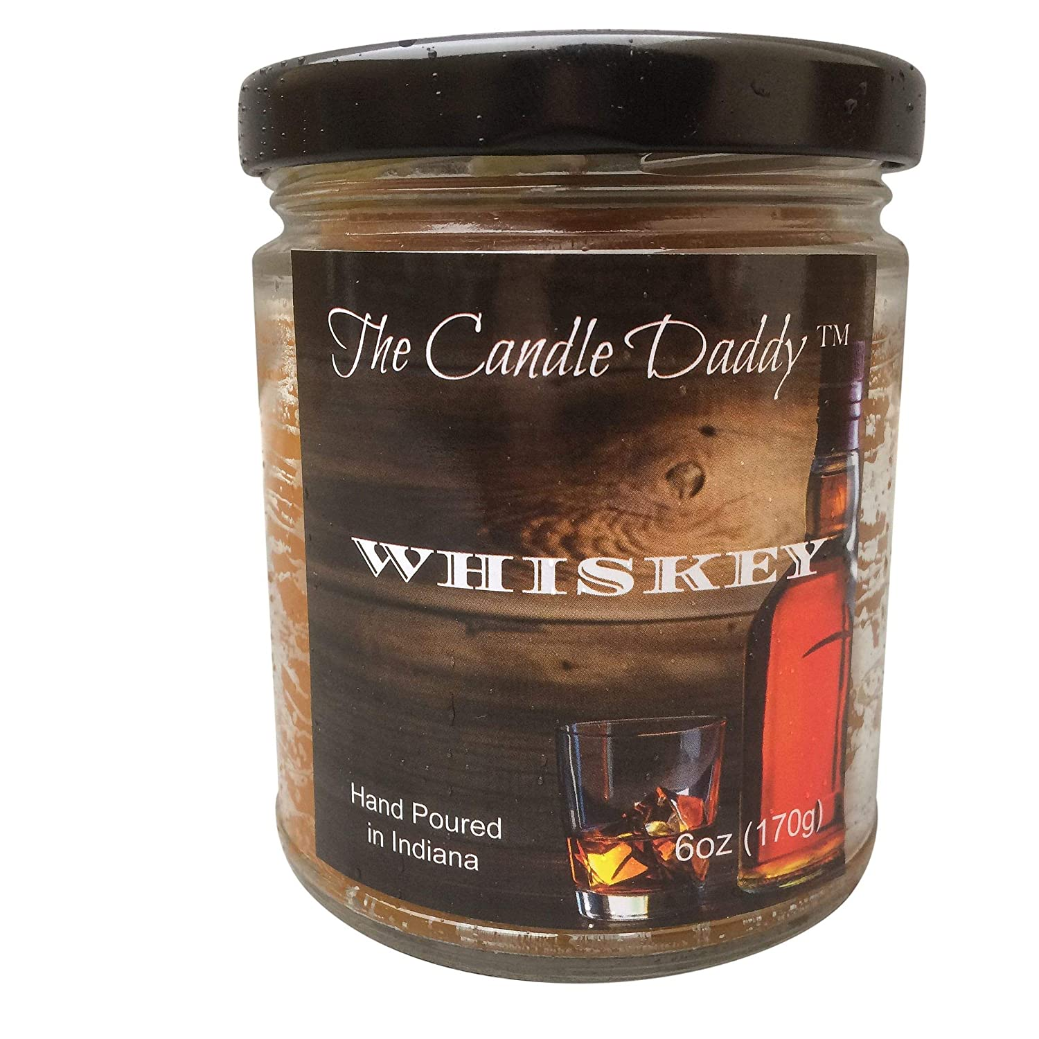 0fa224395832 Whiskey (Bourbon) Scented Candle - 6 Ounce Jar Candle- Hand Poured in  Indiana