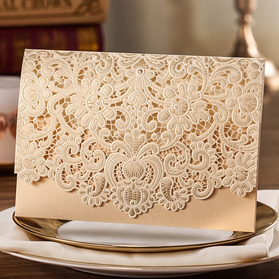 Wishmade 50 Pieces Gold Horizontal Laser Cut Wedding Invitation with Embossed Hollow Flora Favors Printable Gold Cardstock with Envelope & Seal (pack of 50pcs) CW072
