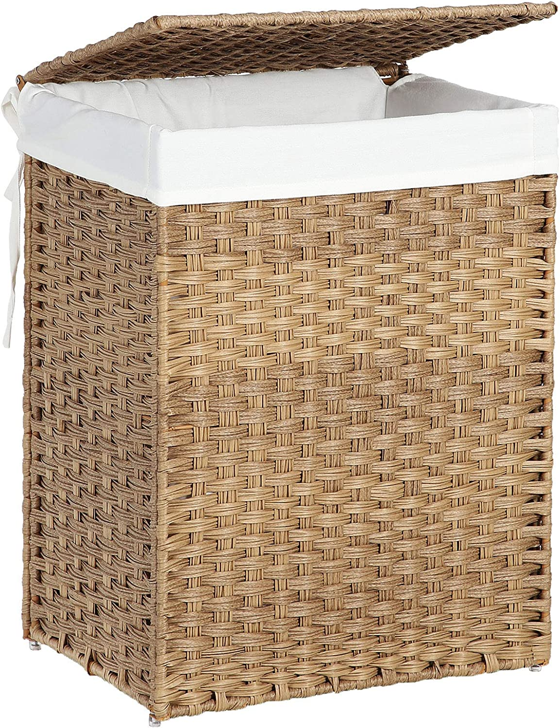 SONGMICS Handwoven Laundry Hamper, Synthetic Rattan Laundry Basket with Removable Liner Bag, Clothes Hamper with Handles for Laundry Room, Natural ULCB51NL