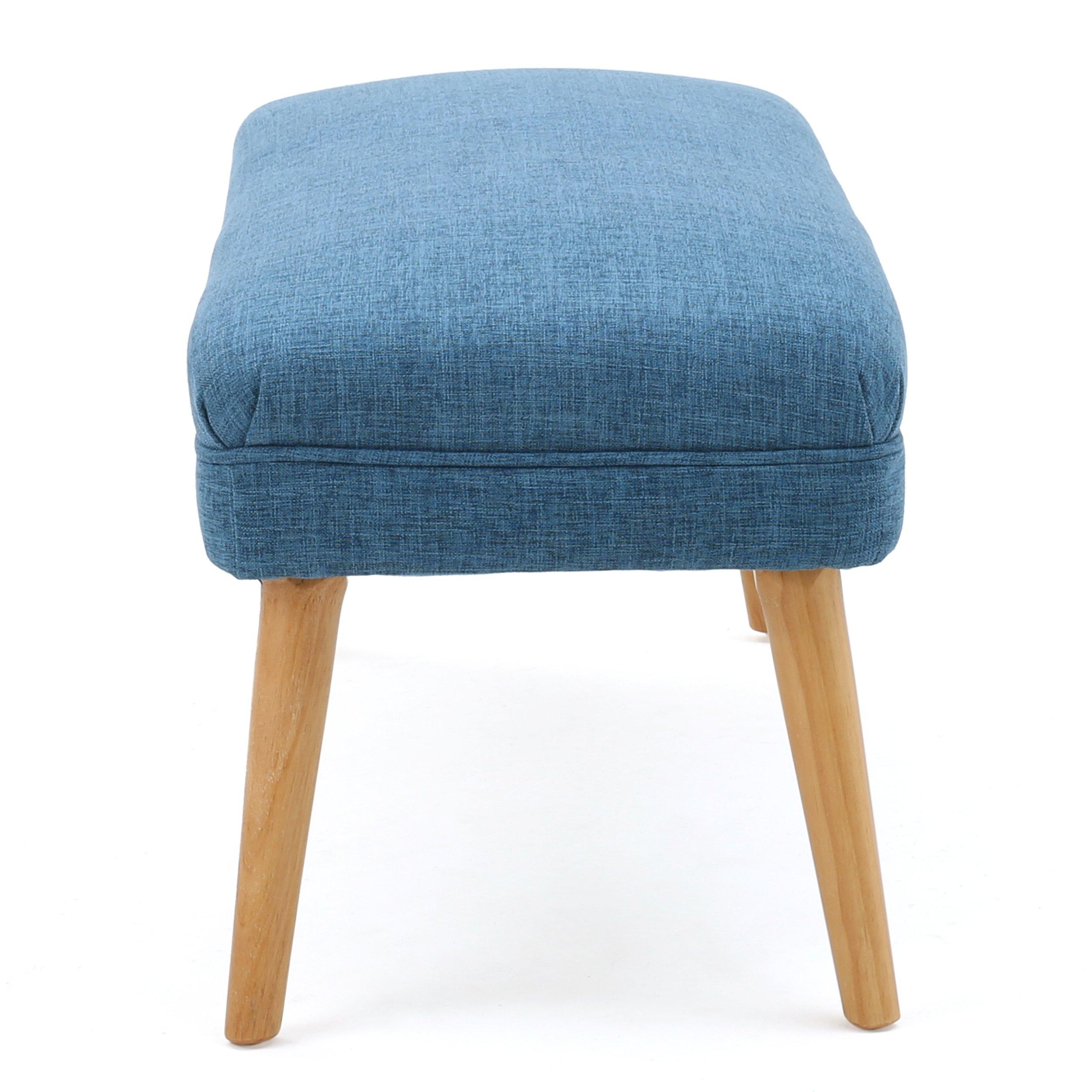 Dumont Mid Century Modern Fabric Ottoman (Blue) by GDF Studio (Image #3)