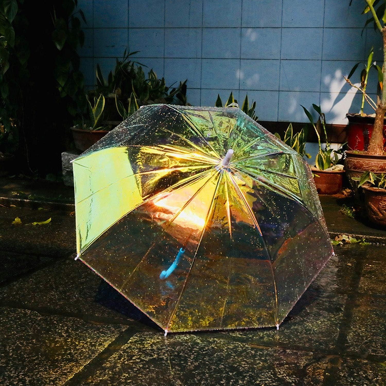 Modis Tous Paraguas holográfico de plástico de PVC para Mujer, con Mango Largo, Transparente, Campo de visión: Amazon.es: Equipaje
