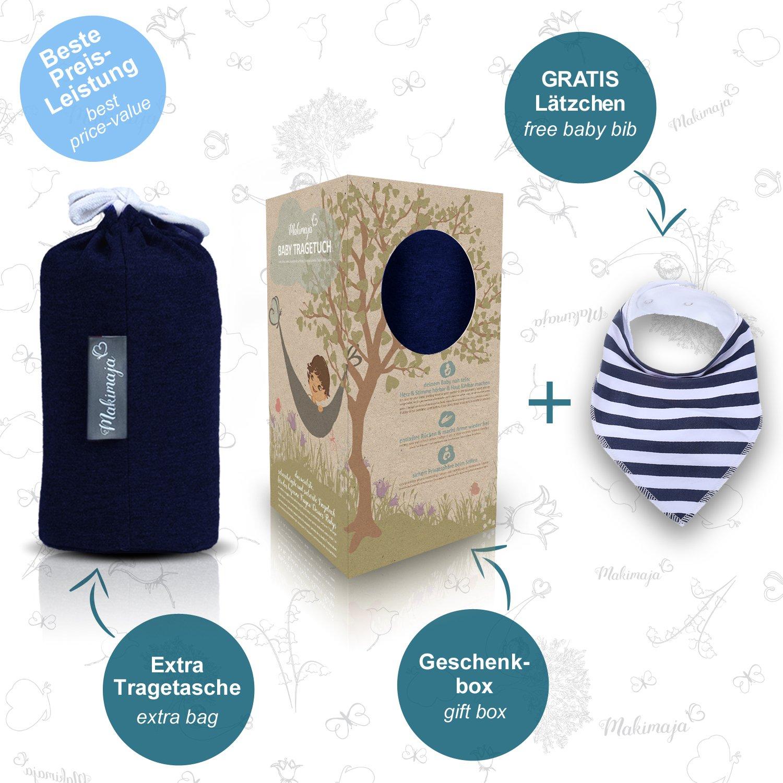 GRATIS Baby-L/ätzchen inkl Babytragetuch Marineblau mit Sternen hochwertiges Baby-Tragetuch f/ür Neugeborene und Babys bis 15 kg