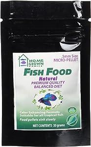 HOME GROWN PONICS Fish Food # 96050 Natural .5mm -20 Gram Bag
