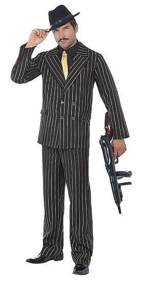 SmiffyS 22414M Disfraz De Gánster De Raya Diplomática Dorada Con Chaqueta, Pantalones, Pechera De Camisa Y Corbata, Negro, M - Tamaño 38