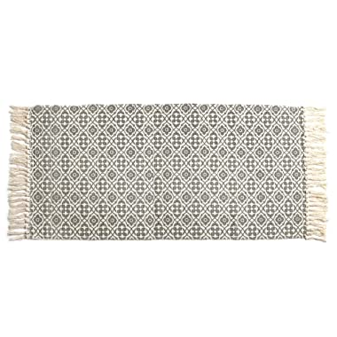 SHACOS Woven Cotton Rug with Tassel Cotton Area Rug Runner 23.6 x 51.2 inch Throw Rug for Bedroom Living Room Laundry Room Entryway Sofa Cover (2'x4'4 , Grey Datura)