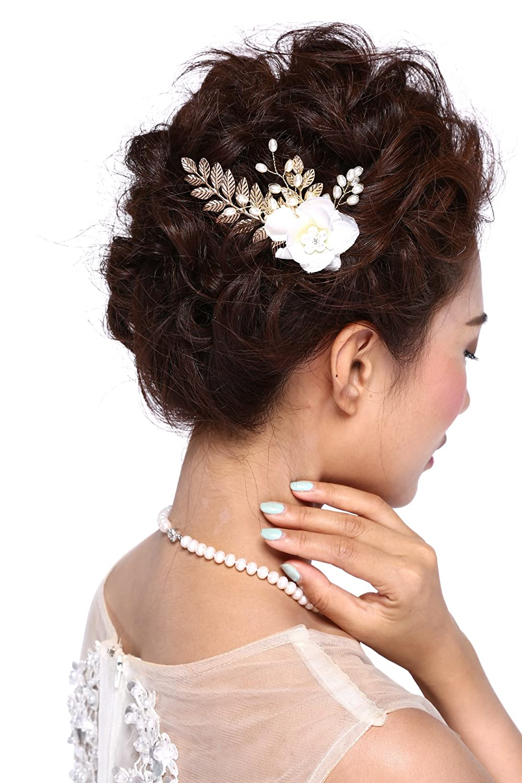 HailieStudio Handmade Bridal Pearls Rhinestones Wedding Golden Floral Hair Comb Hailie Bridal