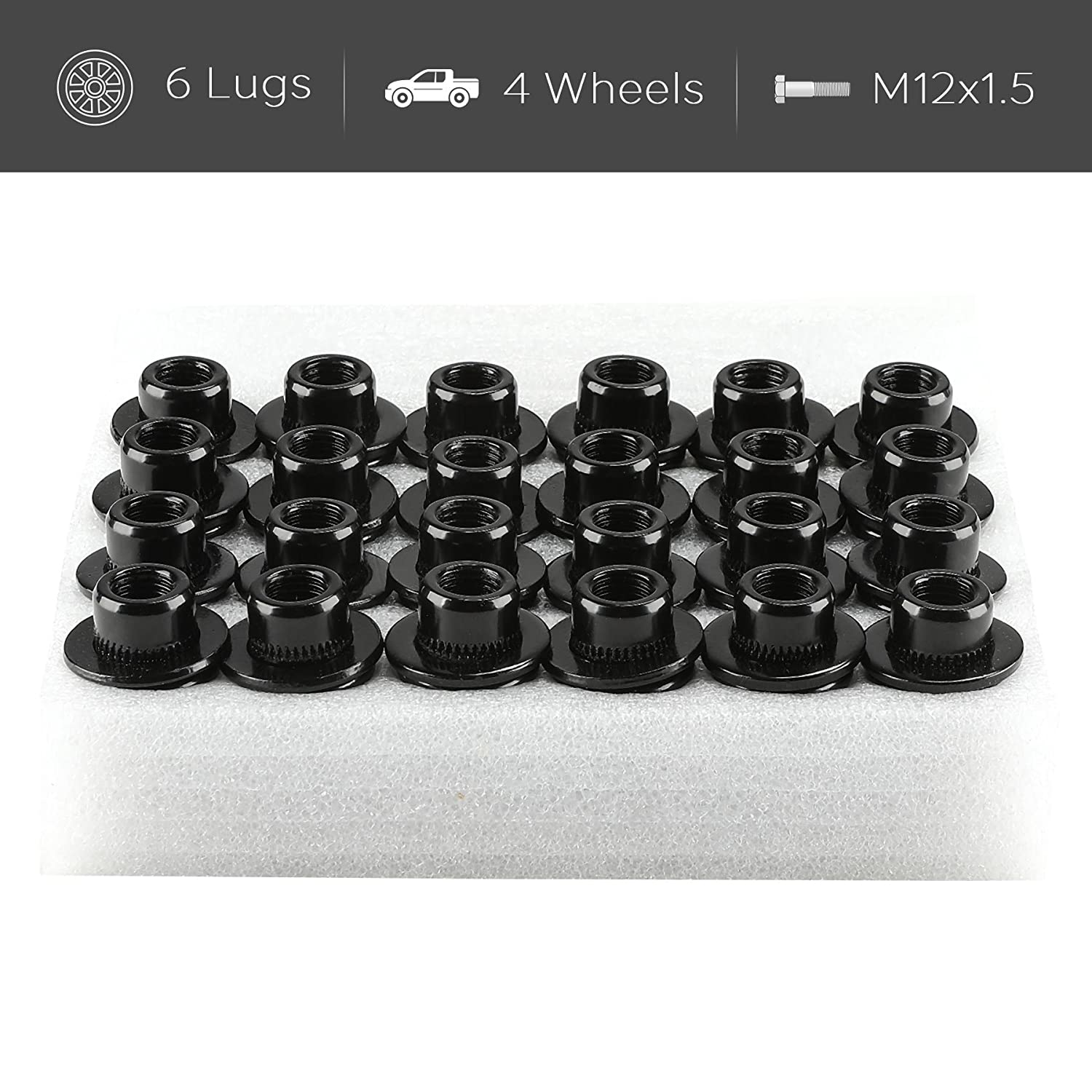 OrionMotorTech 24PCS Black 12x1.5 Wheel Lug Nuts Mag Seat with Washer 1.5 Tall /& 21mm Hex Fits Toyota Lexus Scion Isuzu OEM Mag Seat Factory Wheels