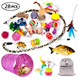 MIBOTE Cat Toys Variety Pack for Kitten Cat Tunnel Catnip Fish Interactive Feather Teaser Wand Toy Fluffy Mouse Crinkle Balls Bells for Cat Puppy Kitty - 21 PCS