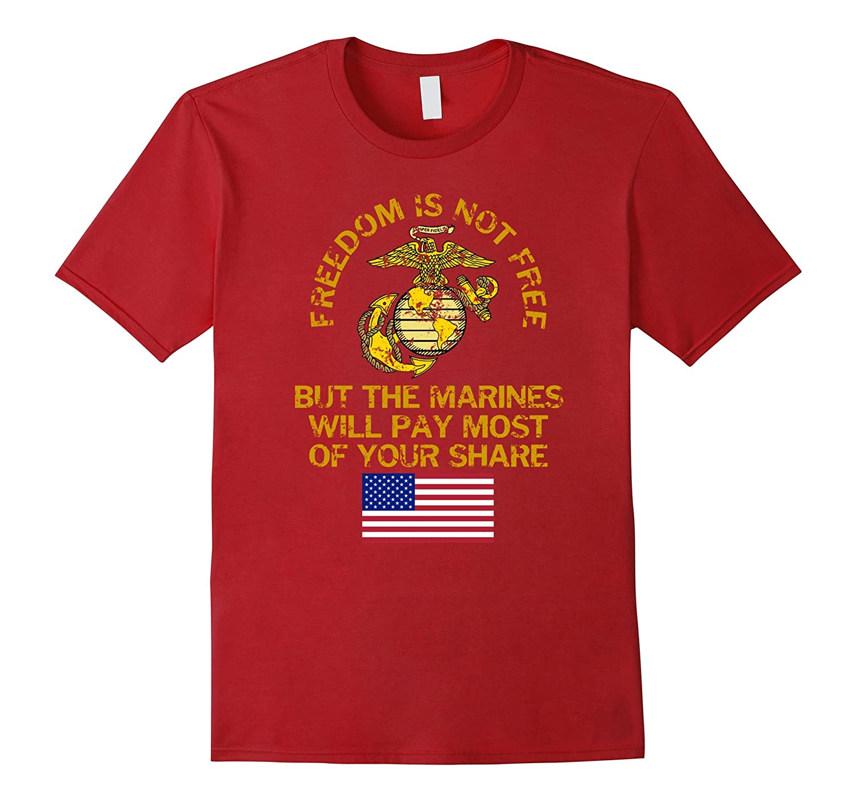 USMC Freedom is Not Free Patriotic US Flag T-Shirt-PL