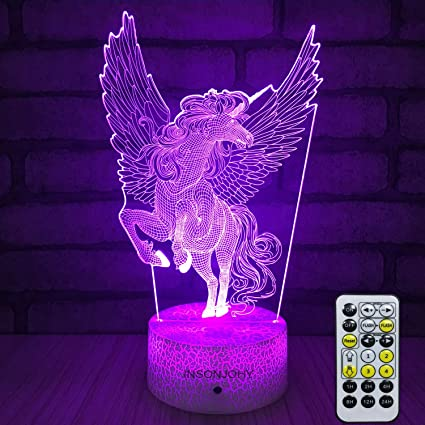 Insonjohy Unicorn Gifts Kids Night Lights Bedside Lamp 7 Colors Change Remote Control Timer 3d Night Light For Kids Optical Illusion Lamps Kids Lamp