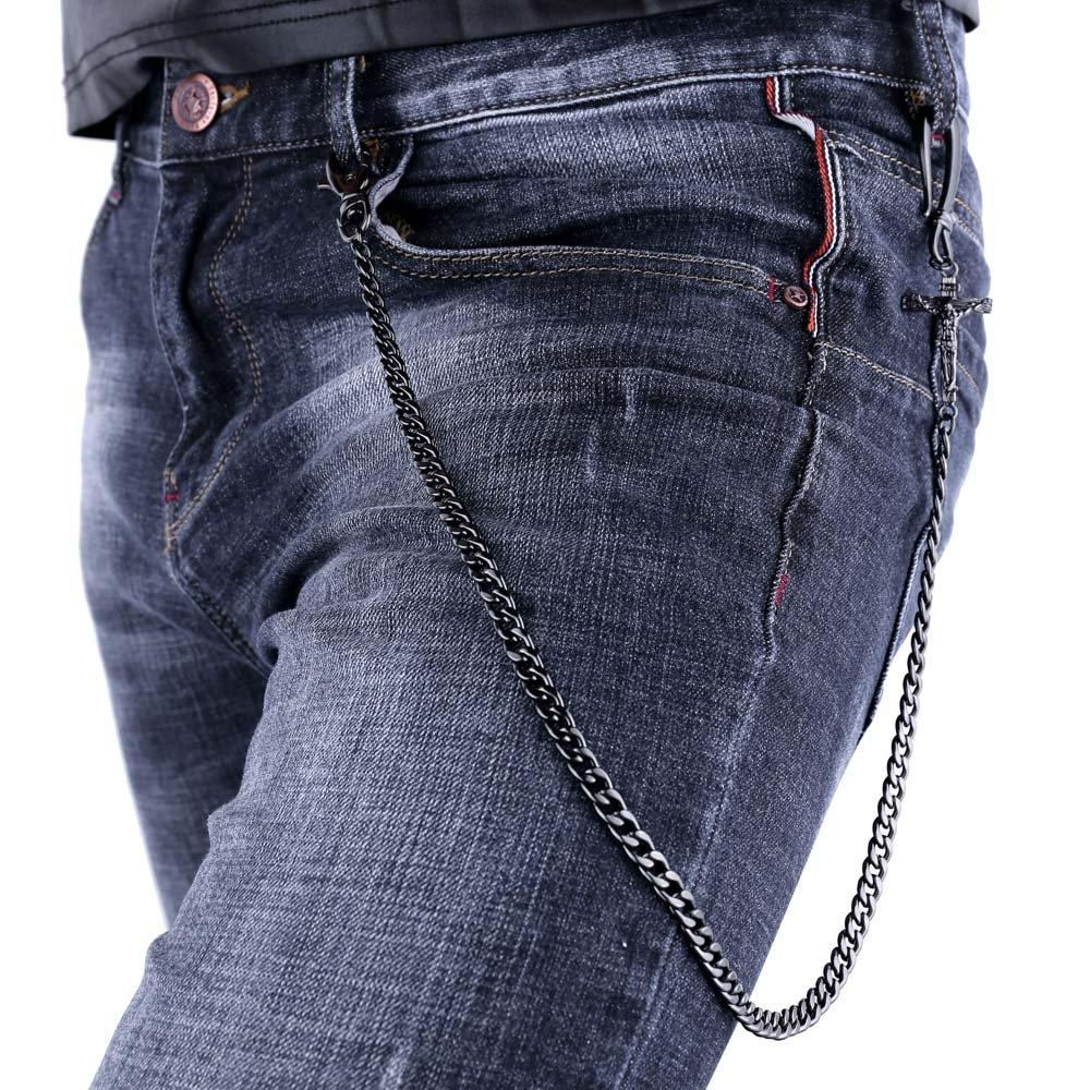 U7 Men Cool Trousers Chain Black Gun Plated Crucifix Design Punk Key Pants Chain