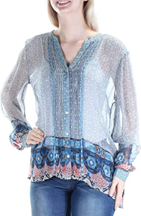 Lucky Brand Womens Plus Size Tie Sleeve Top in Blue Multi
