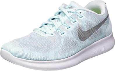 Nike Women S Free Run 2017 Glacier Blue Metallic Silver Running Blue Size 6 5 Road Running