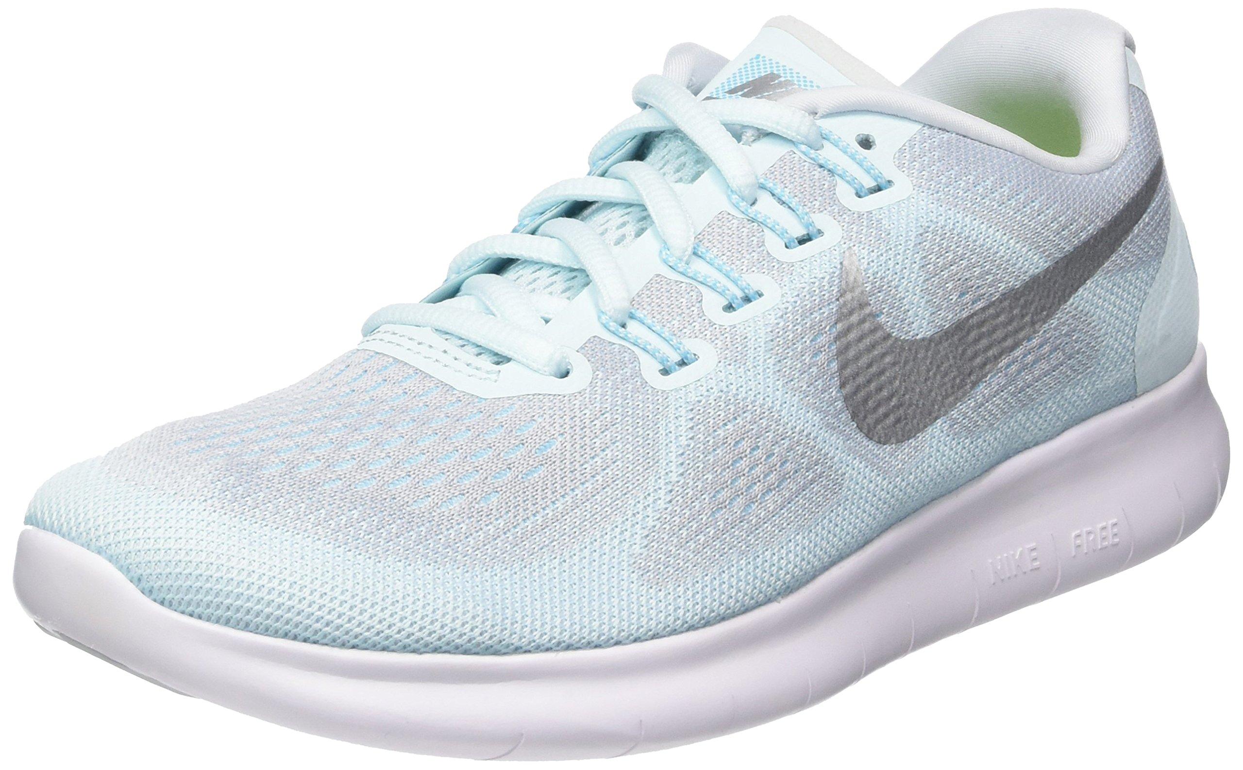 NIKE Womens Free Run 2017 Glacier Blue/Metallic Silver Running Shoes (9.5 B US)