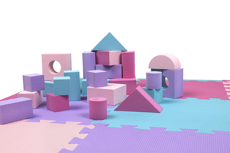 Tadpoles Blocks and Playmat Set, Pink/Purple/Turquoise, 38 x 38 and 60 Blocks Sleeping Partners cpmblk432