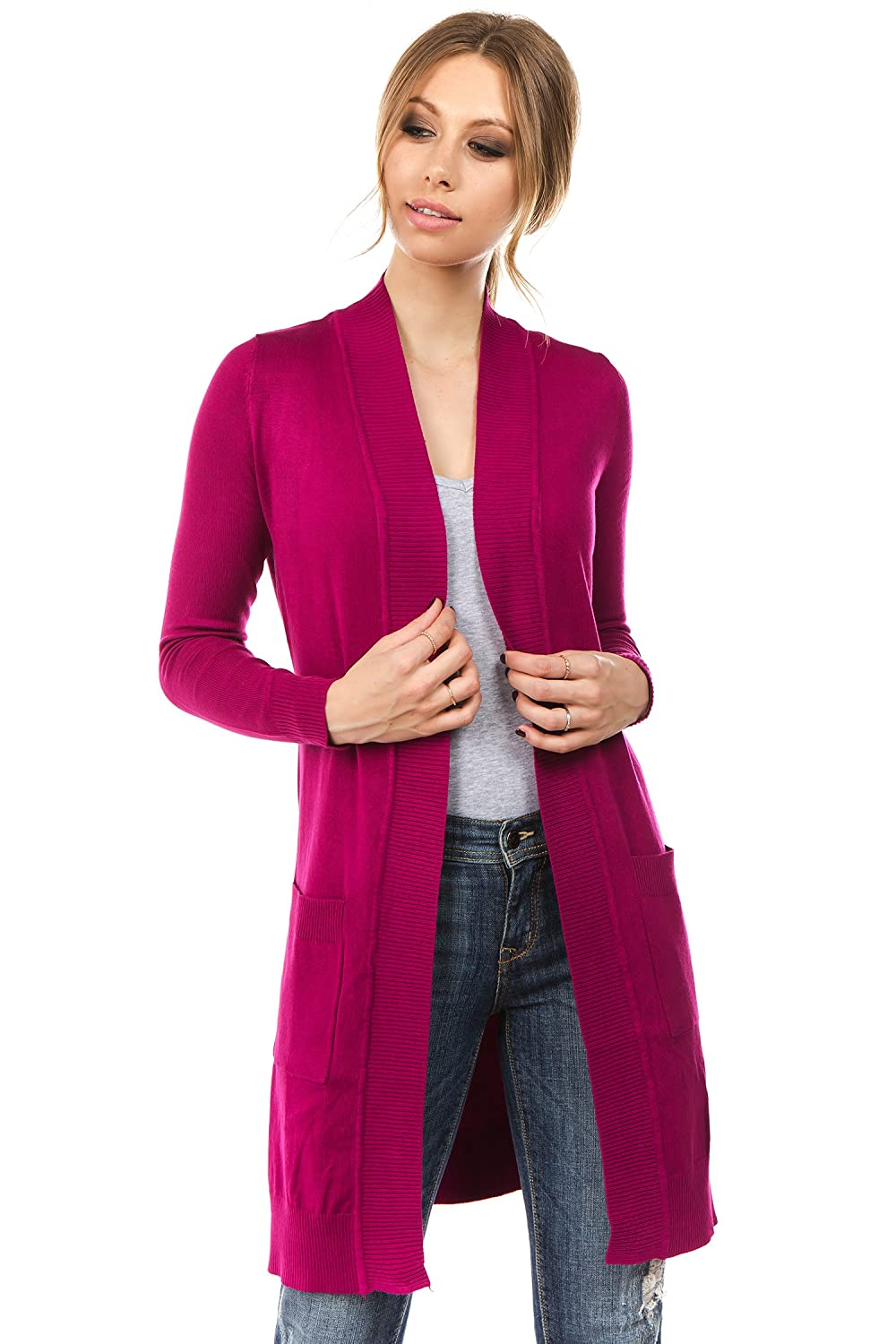 Magenta CIELO Women's Long Sleeve Sweater Duster Cardigan