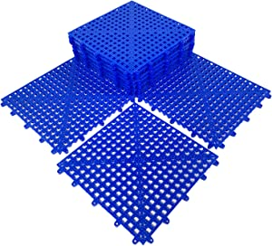 "HYSA MAT Commercial PVC Durable Free-Flow Interlocking Garage Tiles,12 Pack-12.5"" x 12.5"" Anti-Slip Drainage Cushion Flooring Mats for Multi-Use Blue"