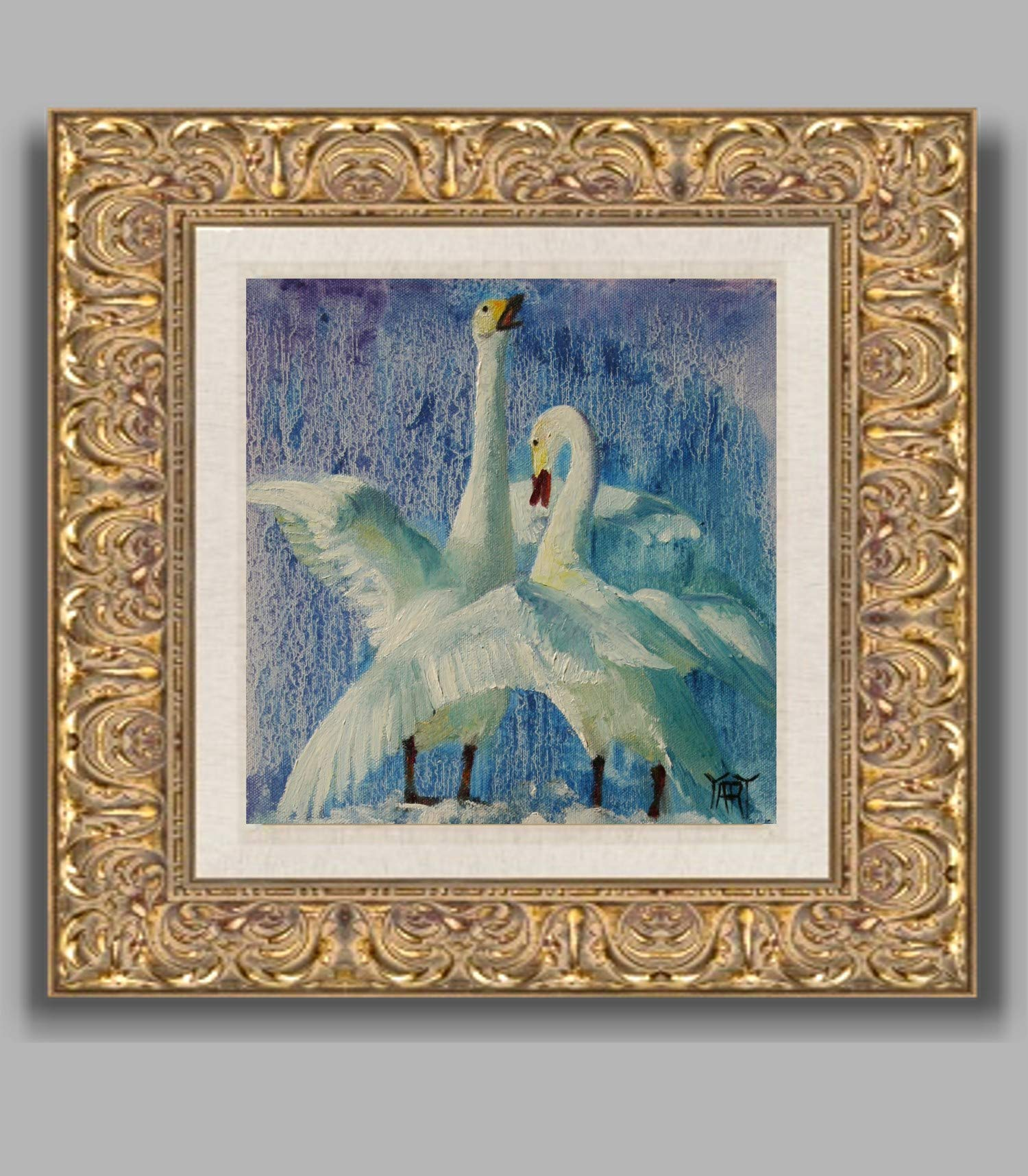 Tundra Swans NEW YEAR SPECIAL small wildlife nature work by internationally renown painter Yary Dluhos