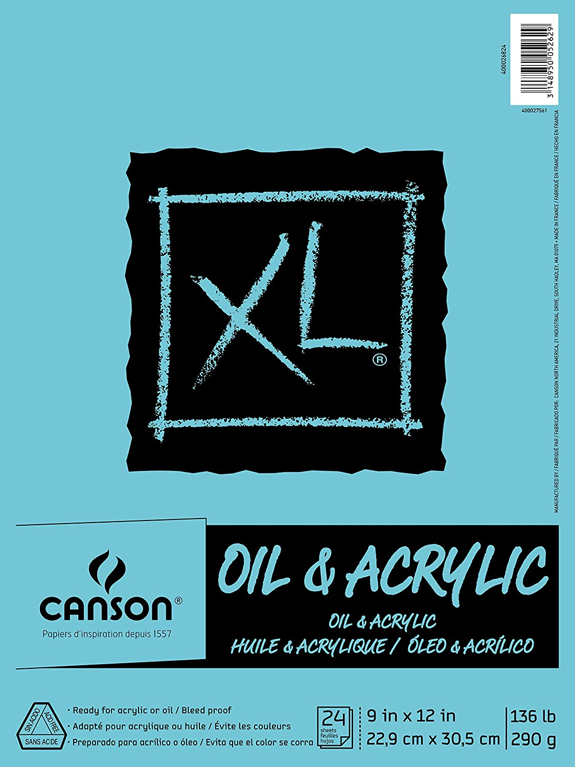 Canson XL Series Oil and Acrylic Paper Pad, Bleed Proof Canvas Like Texture