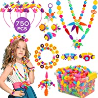 KINFAYV Pop Beads 750+PCS Jewelry Making Kit Toys for 3 4 5 6 7 8 Year Old Girls, Kids Pop Snap Beads Set to Make Hairband Necklace Bracelet and Art & Craft Creativity DIY Set Christmas Birthday Gifts