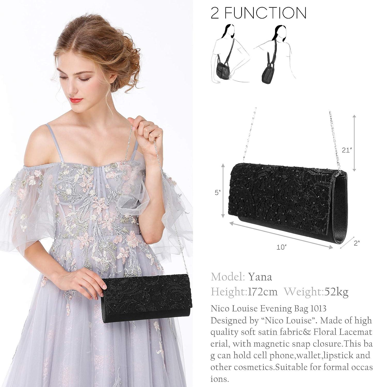 Nico Louise Women Rhinestone Clutch Evening Shoulder Bag Wedding Purse
