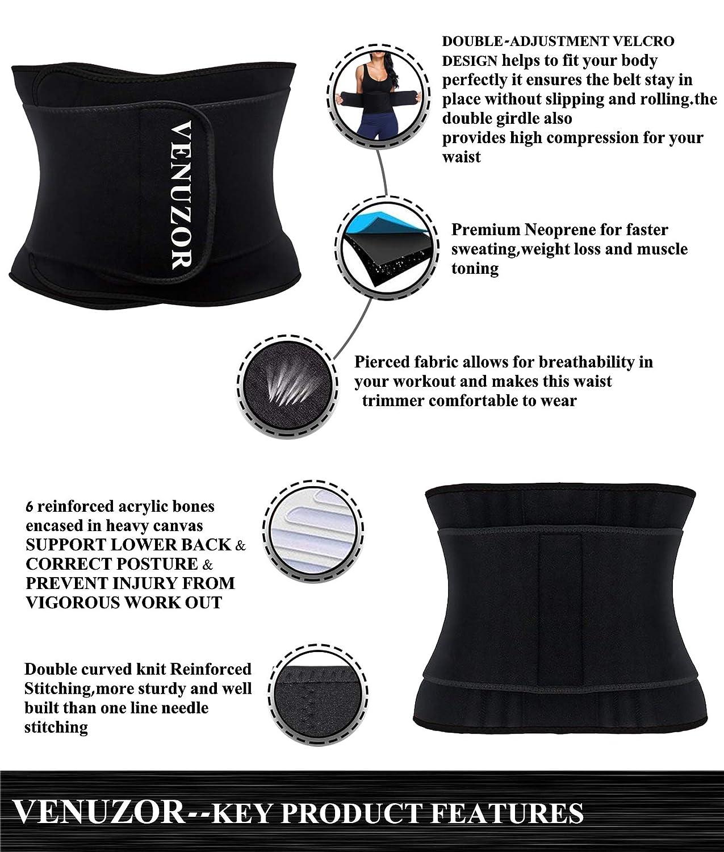 4a80d0b95ac Amazon.com  VENUZOR Waist Trainer Belt for Women - Waist Trimmer Slimming  Belt - Sport Girdle Weight Loss  Sports   Outdoors