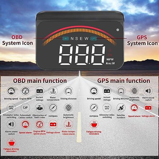 YUGUANG 6 HUD OBD2 GPS Dual System Speedometer Mileage Diagnostic Auto Obd2 HUD Display Altitude Flux Data Compass Clock Alarm Overspeed Temperature Pressure Turbine Compatible for All Cars Trucks