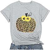 Halloween Pumpkin Shirt Women Plaid Leopard Graphic Tees Cute Fall Pumpkin Short Sleeve Shirts Thanksgiving Gift Tops