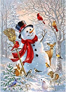Christmas Snowman Cardinal Garden Flag 12x18 inch Double Sided Decorative Xmas Trees New Year SnowHouse Yard Flags for Spring Summer Garden Yard Outdoor Indoor Lawn Farmhouse Outside Decoration