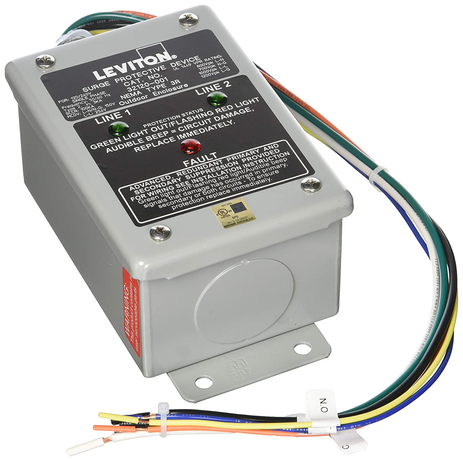 Leviton 32120 1 120 240 Volt Single Phase Surge Panel Secondary Electrical Wiring Dhc And X10 Compatible 80ka L N Max Current Home Improvement