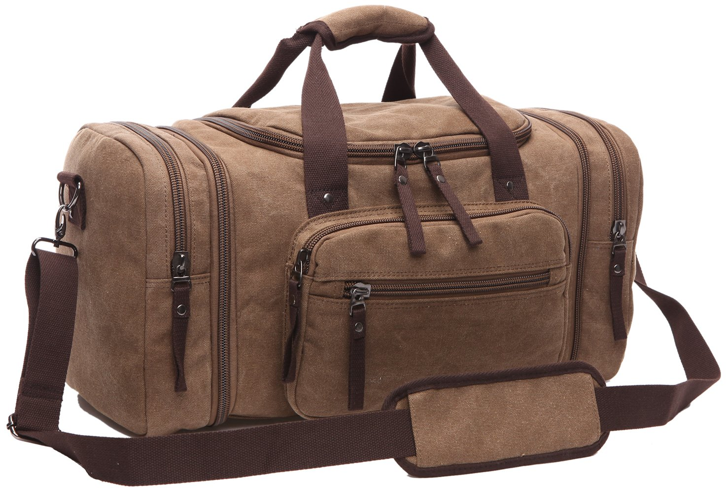 ZUOLUNDUO Vintage Oversized Canvas Travel Luggage Bag Weekend Duffel Handbags 8642ST1,Coffee