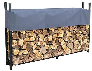 Quick-Star Estante de leña de metal Antracita 200 x 25 x 115 cm Refugio de leña para jardín Ayudas de apilamiento en el exterior con cubierta ...