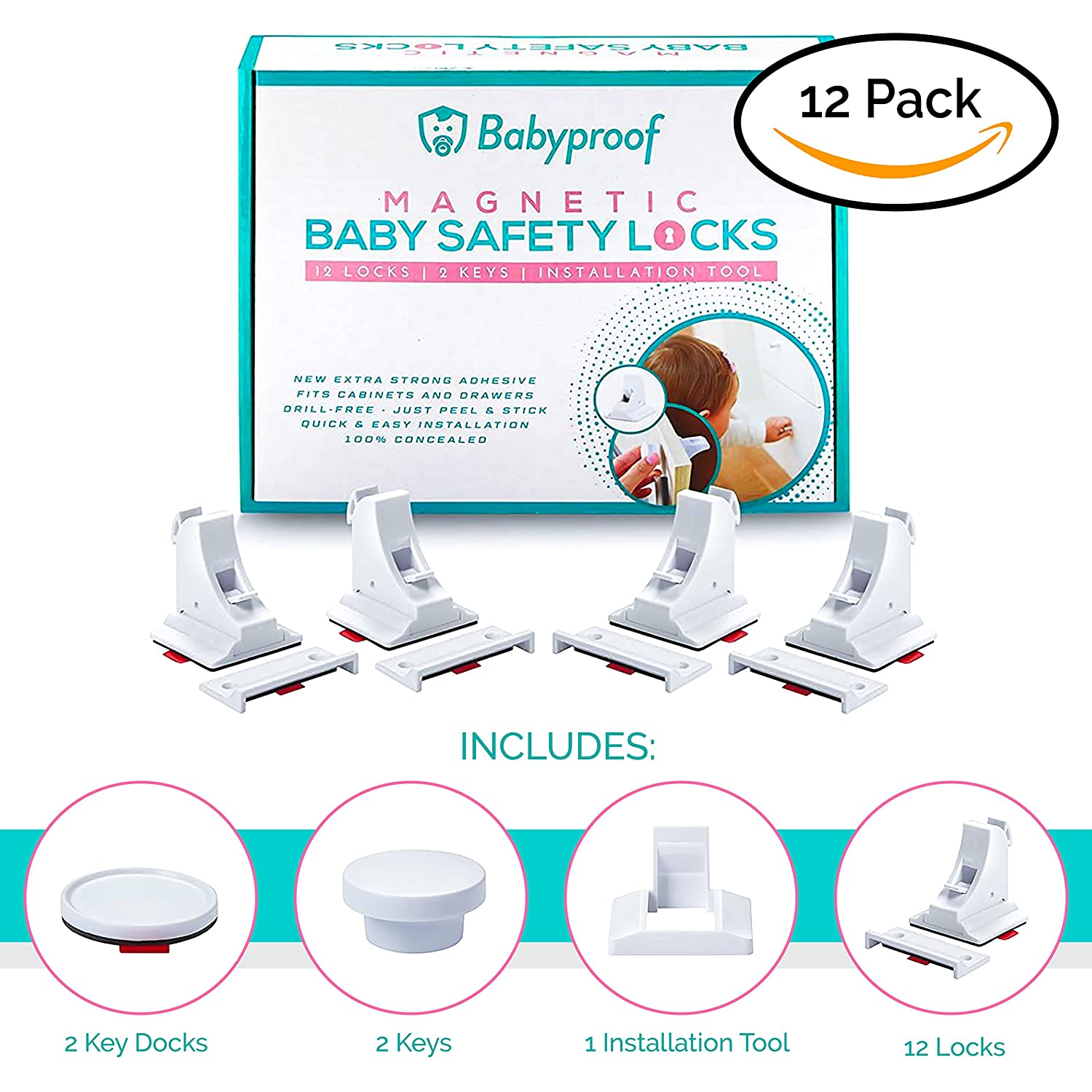 Babyproof Magnetic Cabinet Safety Locks - Extra Strong Hold, No Tools or Screws Needed - Fits Your Drawer, Cabinet Or Door - ON/Off Disengage Switch - Easy and Fast Installation