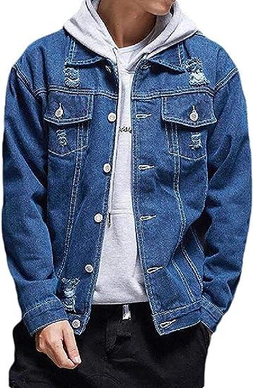 Men's Button Up Stylish Regular Fit Ripped Destroyed Denim Jacket Jean Coat