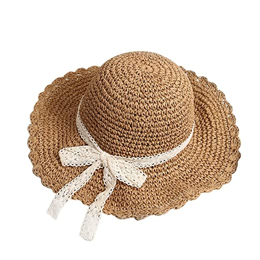 2c74a680cdd YJZQ Women Girls Floppy Straw Sun Hat Foldable Wide Brim Beach Cap Panama  Hats Summer UV Protection Sun Hat Elegant   Adjustable Bowknot Sun Visor ...