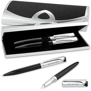 LOGIC-Etui mit SCHREIBSET CARBON mit Kugelschreiber und Tintenroller mit Gravur